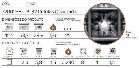 bandeja 32 celulas quadrada ft2
