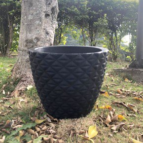 vaso redondo cone lapidado bambu arte bom cultivo bege preto 4