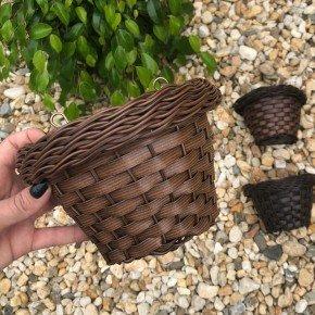 vaso indiano de parede bambu arte vime sintetico bom cultivo vaso de palha